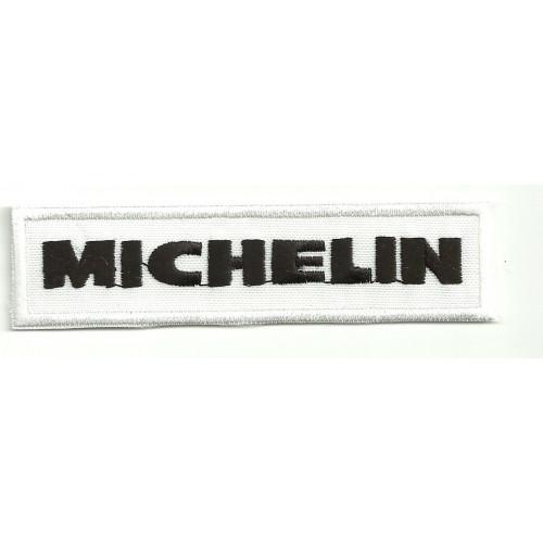 Parche bordado MICHELIN BLANCO Y NEGRO 10cm x 2,5cm