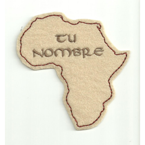 Parche bordado CON TU NOMBRE AFRICA 9cm x 9cm