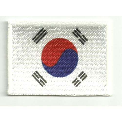 Parche bordado y textil BANDERA COREA DEL SUR 4cm x 3cm