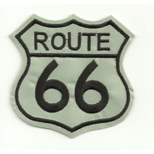 Parche bordado  ROUTE 66 GRIS  3,5cm x 3,5cm