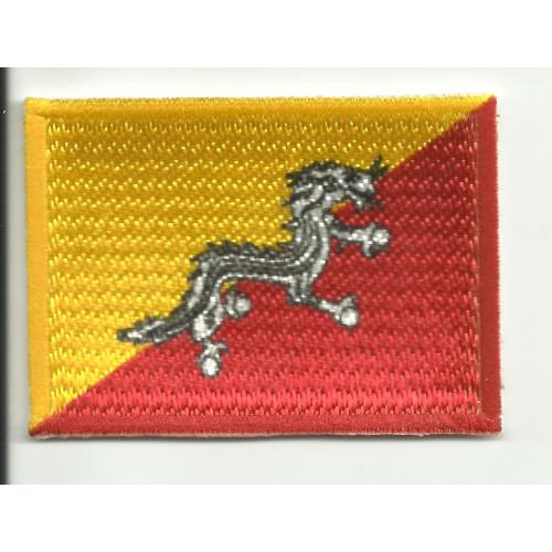 Parche bordado y textil BANDERA BHUTAN 4CM x 3CM