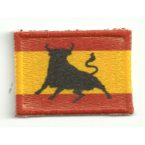 Patch embroidery and textile FLAG SPAIN TORO  7CM X 5CM