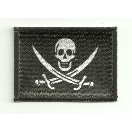 Patch embroidery and textile PIRATE FLAG SWORD  - CALICO JACK 25cm x 18cm