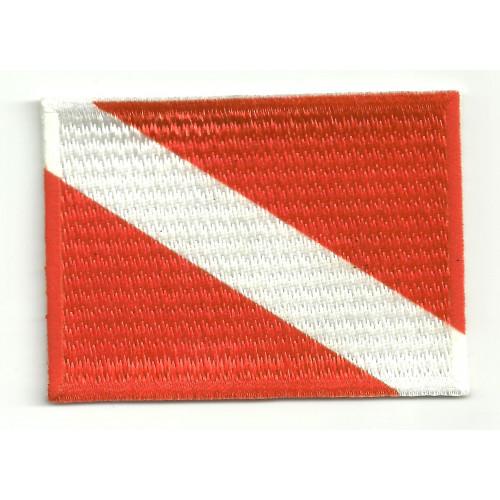 Parche bordado y textil BANDERA ALFA 7cm x 5cm