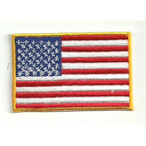 Parche bandera USA BORDE EXTERIOR AMARILLO 7cm x 5cm
