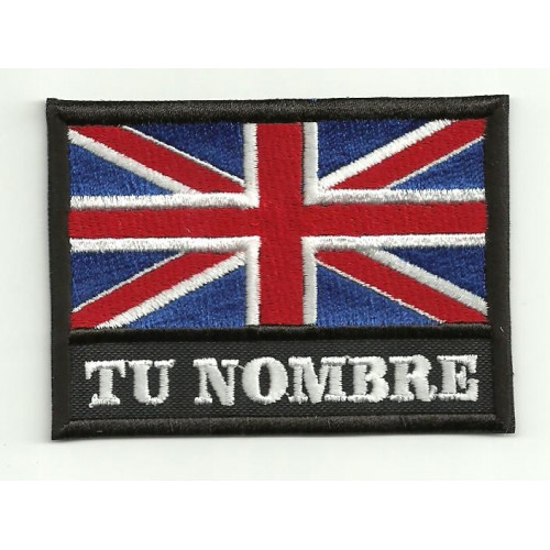 Patch  embroidery YOUR NAME UNITED KINGDOM FLAG  4,5cm x 3,3cm NAMETAPE