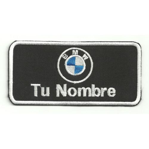 Parche bordado BMW CON TU NOMBRE 25cm X 12,5cm