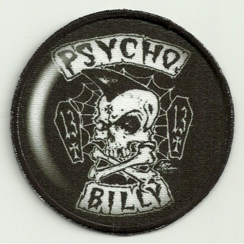Patch embroidery and textile PSYCHO BILLY 7,5cm diameter