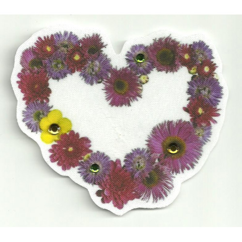 Patch textile FLOWER  PEAKS, WITH BRIGHT 7,5cm diametre