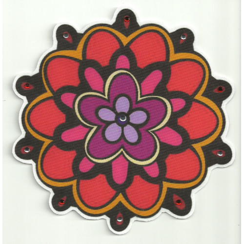 Patch textile FLOWER WITH BRIGHT 7,5cm diametre