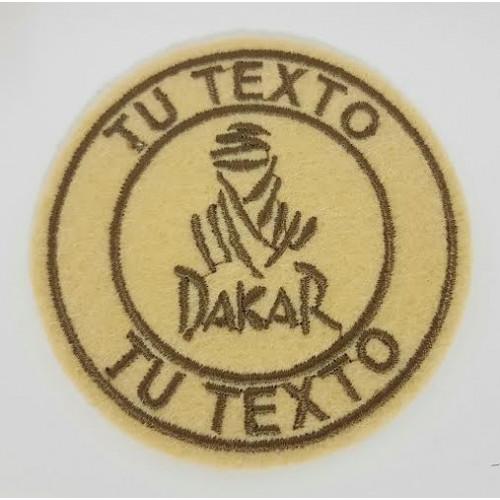 Patch embroidery DAKAR REDONDO BEIGE 7,5cm