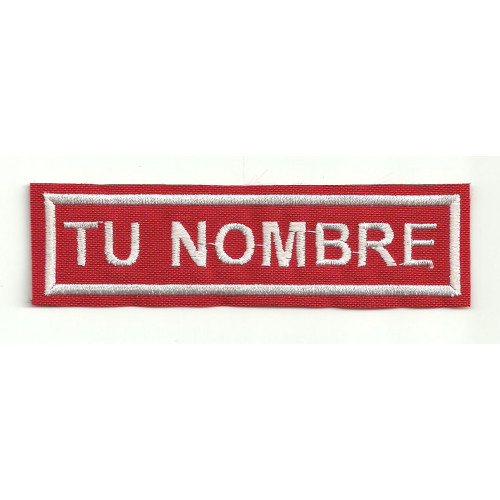 Embroidery Patch RED / WHITE YOUR NAME GOTHIC 10 cm x 2.4 cm NAMETAPE