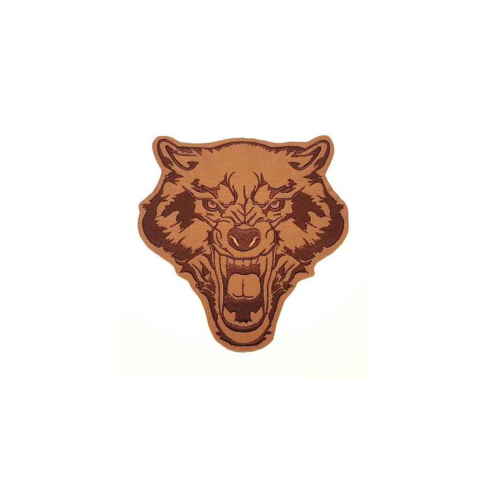 BROWN  WOLF embroidered patch 15cm x 15,5cm