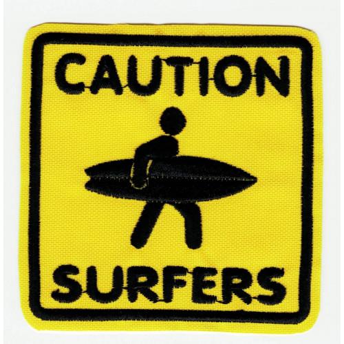 CAUTION SURFERS embroidered patch SURF  7cm x 7cm