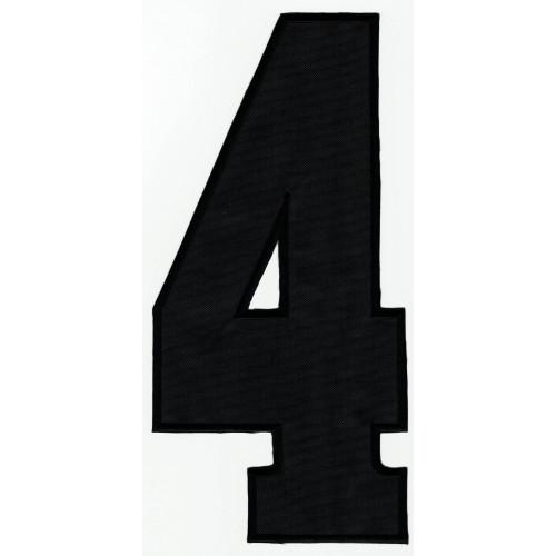 Parche bordado  NUMERO 4 NEGRO 16cm X 7,5cm