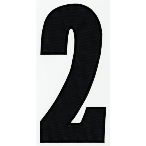 Parche bordado  NUMERO 2 NEGRO 16cm X 7,5cm