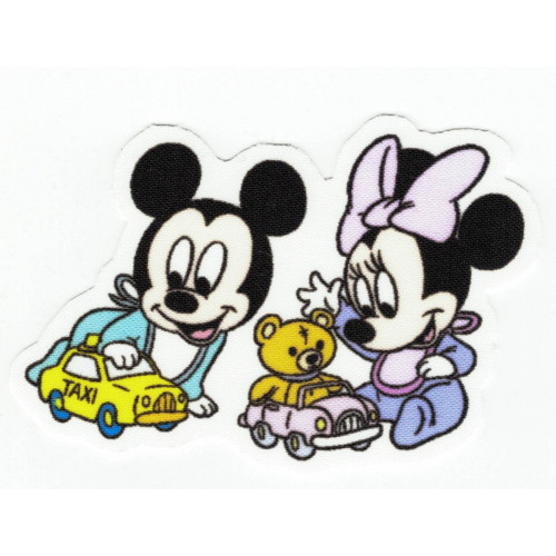 Textile patch  MINNIE Y MICKEY 9cm x 6cm