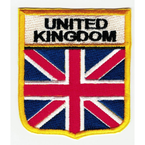 Patch embroidery  SHIELD FLAG UNITED KINGDOM 6cm x 7cm