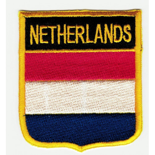 Patch embroidery  SHIELD FLAG NETHERLANDS 6cm x 7cm