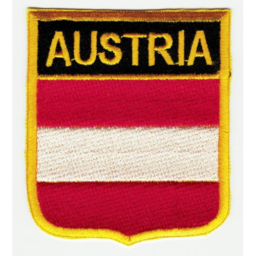 Patch embroidery  SHIELD FLAG AUSTRIA 6cm x 7cm
