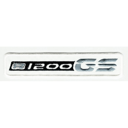 Embroidered patch BMW GS R1200 WHITE NEW 13cm x 2,5cm
