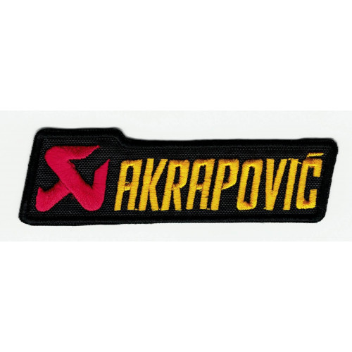 Embroidered patch AKRAPOVIC YELLOW 9.5cm x 3cm