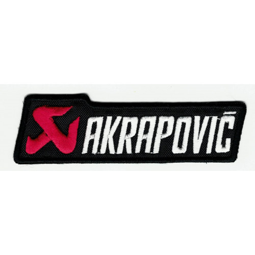 Embroidered patch AKRAPOVIC WHITE 9,5cm x 3cm