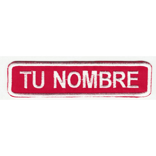 Embroidered patch NAMETAPE RED / WHITE YOUR NAME POINT ROUND 10cm x 2.4cm