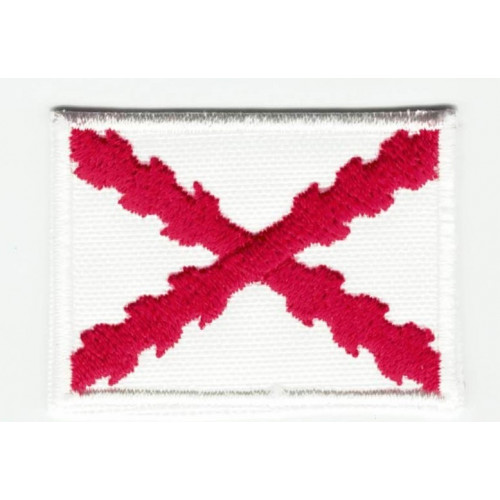 Parche bordado y textil BANDERA CRUZ DE BORGOÑA O CRUZ DE SAN ANDRES 7CM x 5CM