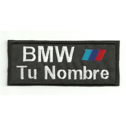 Embroidery Patch BMW MOTORSPORT CON TU NOMBRE 10cm X 4cm