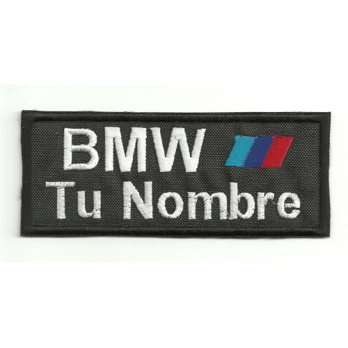 Parche bordado BMW MOTORSPORT CON TU NOMBRE 10cm X 4cm